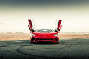 Red Lamborghini Aventador Front