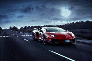 Red Lamborghini Aventador Moon Night Wallpaper