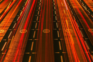 Red Light Streaks Road 5k Wallpaper