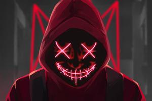 Red Mask Neon Eyes 4k