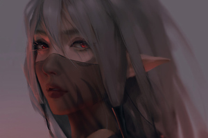 Red Moon Anime Girl Face Covered Wallpaper