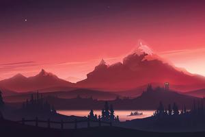 Red Mountains Morning Minimal 4k Wallpaper