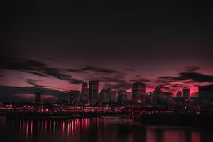 Red Night Panorama Buildings Lights Red Sky 5k