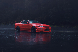 Red Nissan GTR R34 Wallpaper