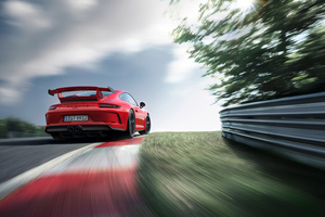 Red Porsche 4k Rear Wallpaper