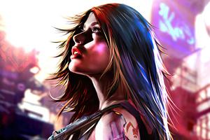 Red Rabbit Cyberpunk Girl 4k Wallpaper