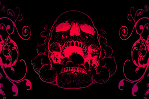 Red Skull Flowers Black Background 4k