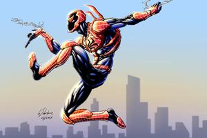 Red Spiderman Bluebeetle Artwork Wallpaper