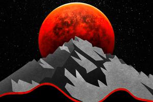 Red Sun Between Mountains Minimal 5k Wallpaper