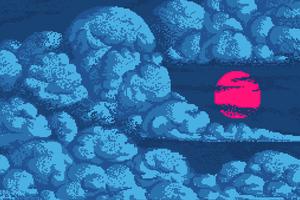 Red Sun In Blue Clouds Pixel Art 4k Wallpaper