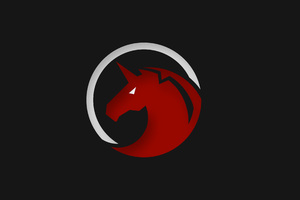 Red Unicorn Logo 4k Wallpaper