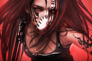 Red Warrior Face Damaged From War Wallpaper