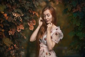 Redhead Girl Closed Eyes 4k Wallpaper