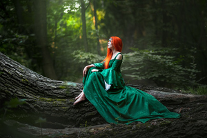 Redhead Girl Forest Cosplay Wallpaper
