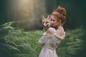 Redhead Girl Fox Wallpaper