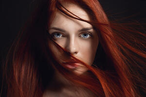 Redhead Girl Hairs On Face 4k 5k