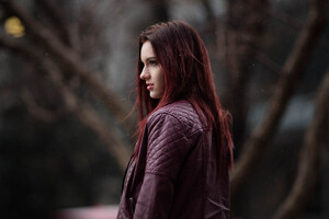 Redhead Girl In Leather Jacket Outdoors Wallpaper