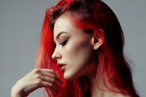 Redhead Girl Portrait Side 5k Wallpaper