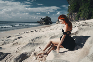Redhead Girl Sitting On Beach Black Clothing 4k Wallpaper