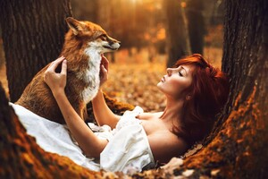 Redhead Girl With Fox