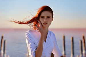 Redhead Model White Dress Looking At Viewer Wallpaper