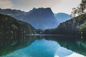 Reflection Of Trees In Lake Piburger See Wallpaper