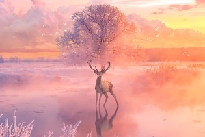 Reindeer Fantasy Arts Wallpaper