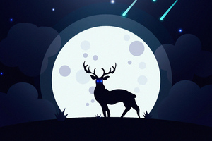 Reindeer Glowing Blue Eyes Moon 5k Wallpaper
