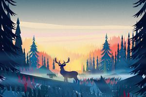 Reindeer Minimal Forest Minimalism 4k