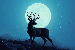 Reindeer Minimal Sky 5k Wallpaper