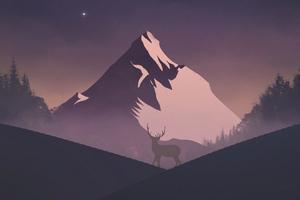 Reindeer Mountains Minimal 5k Wallpaper