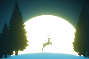 Reindeer Night Jump 5k Wallpaper