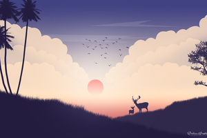Reindeer Sunset View Minimalism