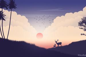 Reindeer Sunset View Minimalism Wallpaper
