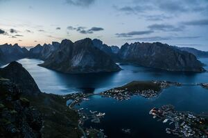 Reine At Lofoten Islands At Sunset 5k Wallpaper