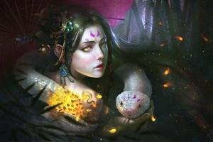 Reptile Girl Fantasy Art