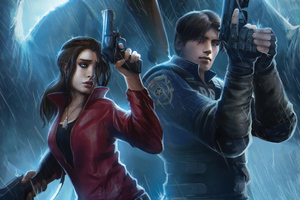Resident Evil Claire Redfield Chris Redfield 4k Art Wallpaper