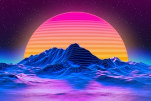 Retro Big Sunset 5k Wallpaper
