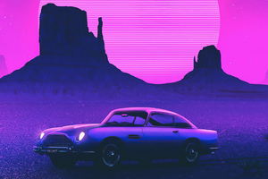 Retro Car Art 4k Wallpaper