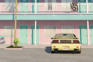 Retro Car Hotel Outside 4k