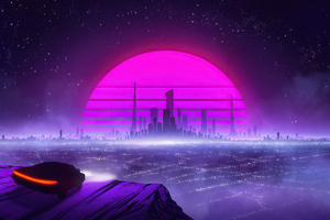 Retro Car To Synthwave City 5k Wallpaper