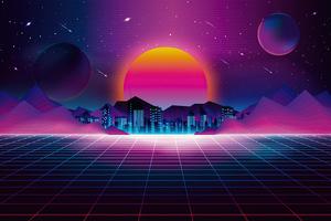Retro City Sunset 4k Wallpaper