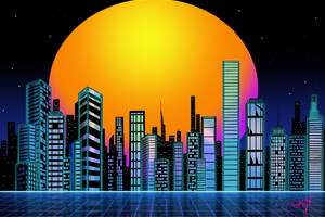 Retro City Sunset Wallpaper