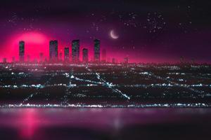 Retro Cityscape Neon Drifts 5k