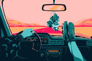 Retro Drive Legs Crossed On Dashboard Wallpaper