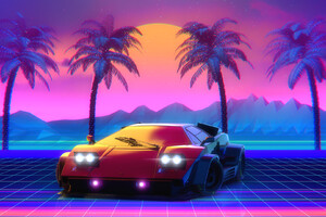 Retro Lamborghini Countach Palm Trees