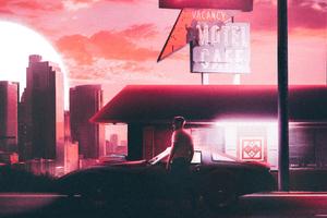 Retro Midnight Car Rider Motel Wallpaper