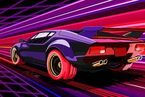 Retro Racing Muscle Car Wallpaper