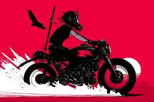 Retro Rider On A Bike Sunset Wallpaper
