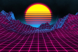 Retro Sunrise 4k Wallpaper